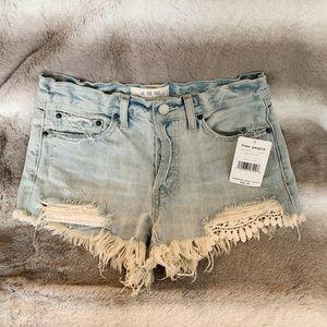 Free People Light Wash Lace Trim Jean Shorts
